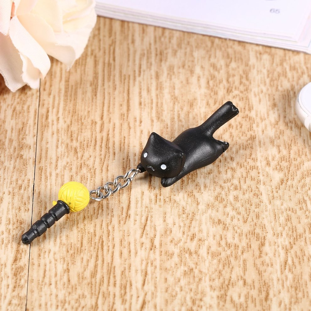 5 Pcs Newest Lovely Black Cat Playing Ball 3.5mm Anti Dust Earphone Jack Plug Stopper For Phone Smartphone Accessories