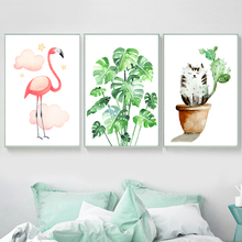 Watercolor Flamingo Monstera Cactus Cat Wall Art Canvas Painting Nordic Posters And Prints Pictures For Living Room Decor