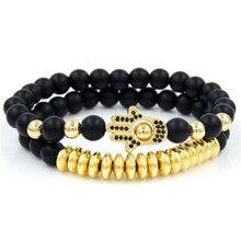 2Pcs/Set Micro Pave CZ Hamsa Fatima Charms Bracelets Sets For Women Men 8mm Black Matte Hematite Stone Bead Couple Bracelet