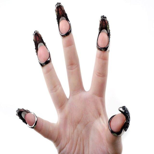 2017 Punk Stijl Zwarte Nagels Ringen Cool Rock Eagle Claw Crystal Finger Fake Nail Haak Ring