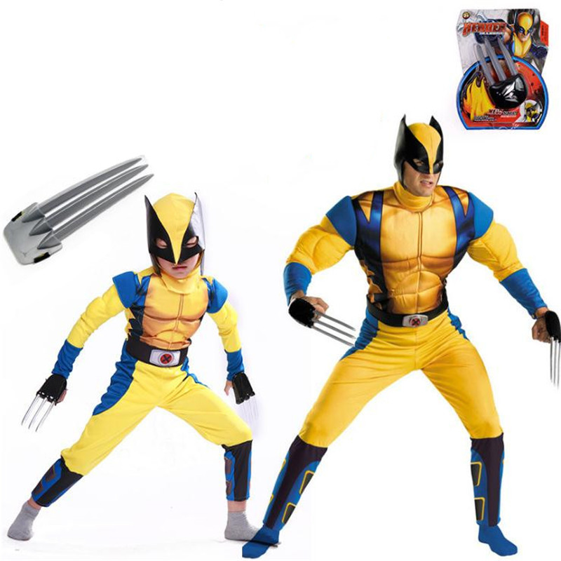 Logan Howlett Wolverine Cosplay Costume Zentai Muscle Jumpsuit Mask Claw Set Carnival Christmas Halloween For Kids Adults