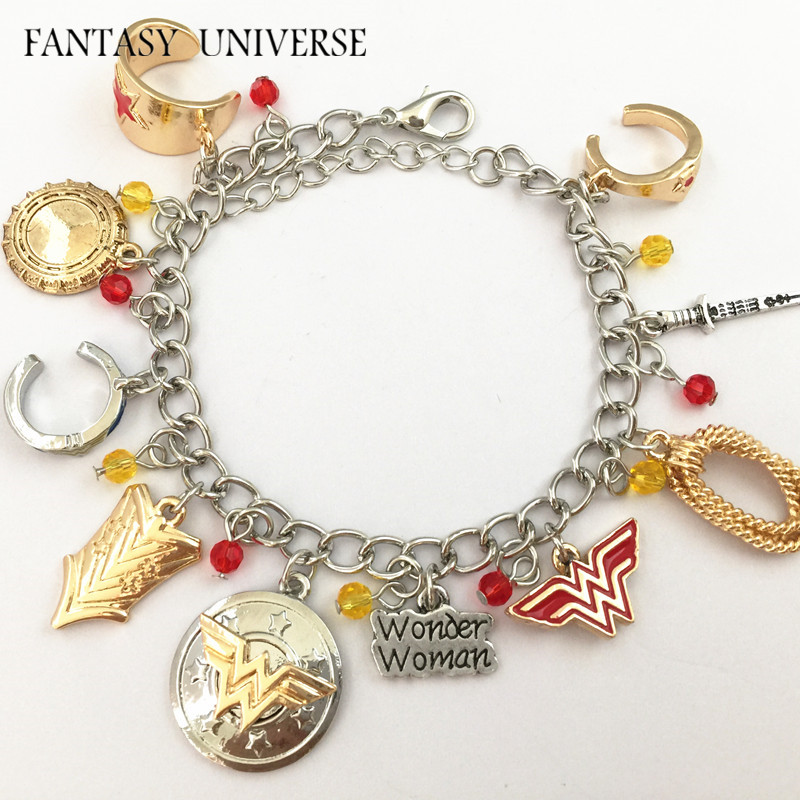 FANTASY UNIVERSE Freeshipping 20pcs a lot Wonder Woman charm bracelet FCZZZZ01