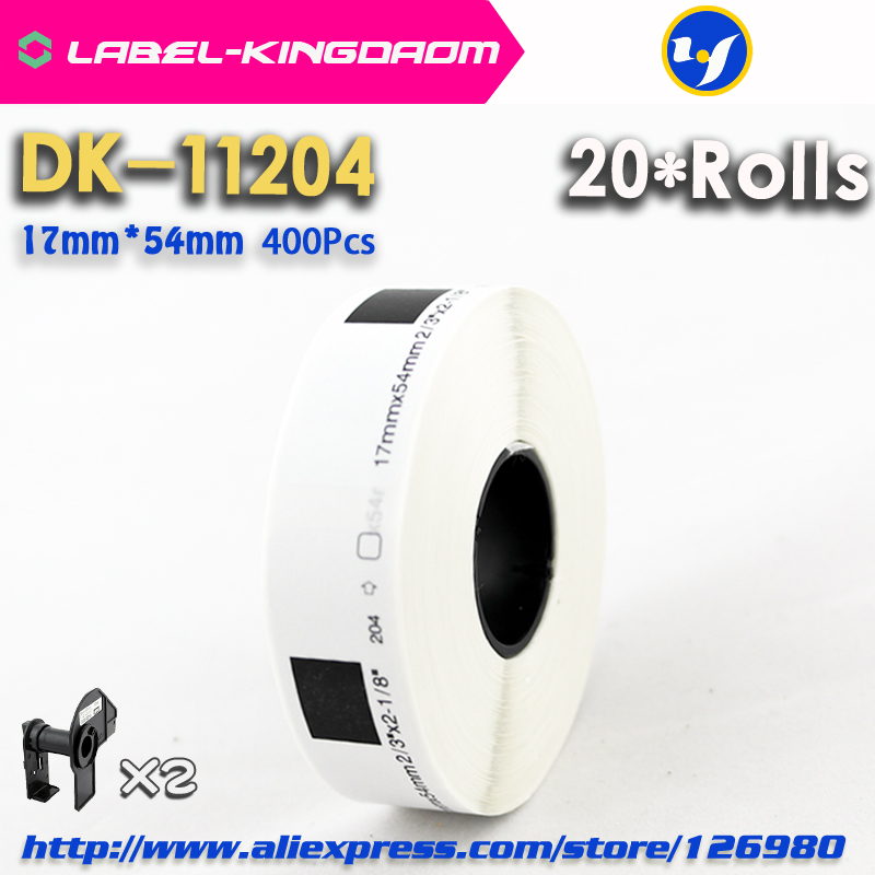 20 Refill Rolls Compatible DK 11204 Label 17mm*54mm 400Pcs Compatible for Brother Label Printer White Paper DK11204 DK 1204-in Printer Ribbons from Computer & Office    1