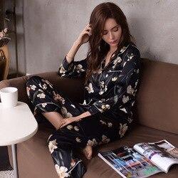 Echte Zijde Pyjama Vrouwelijke Hoge Kwaliteit Nachtkleding Vrouwen Pure Zijde Mode Gedrukt Lange Mouwen Pyjama Broek Tweedelige sets T8129