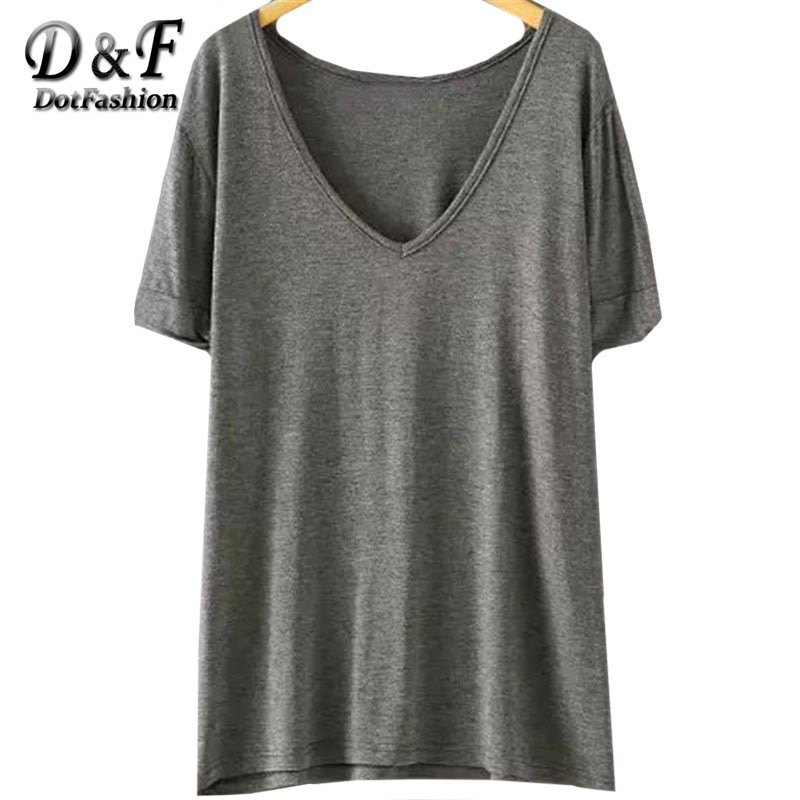 Dotfashion Women Summer New Casual Ladies Tees Tops Plain V Neck Short Sleeve Loose T Shirt For Women