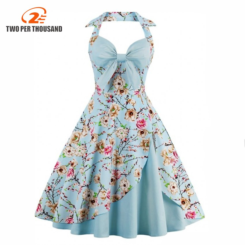 Women Summer Vintage Dress S 4XL Plus Size Ball Gown Floral Print Robe Pin Up 50s