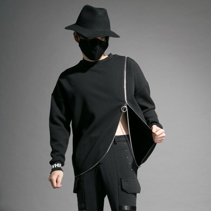 Бренд Tide, индивидуальная куртка, мужской сценический костюм для ночного клуба, мульти молния, круглый вырез, длинный рукав, футболка, мужская мода, джемпер - 2