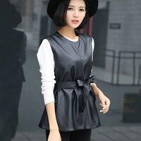 2019 Slim PU Faux Leather Vest Women Sleeveless Jackets Motobiker O Neck Waistcoat With Belt Korea All Match Coats Streetwear