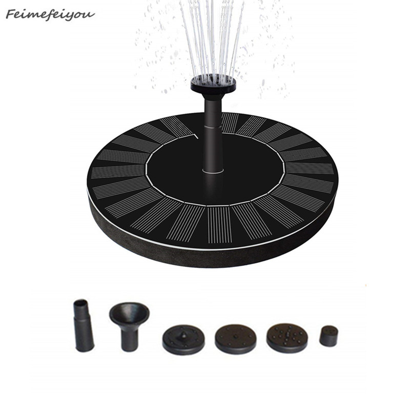 Round Shaped Solar Fountain Water Floating Fountain Pump Outdoor Bird Bath Fountain Pool Pump For Pond Garden Decoration-in Fountains & Bird Baths from Home & Garden