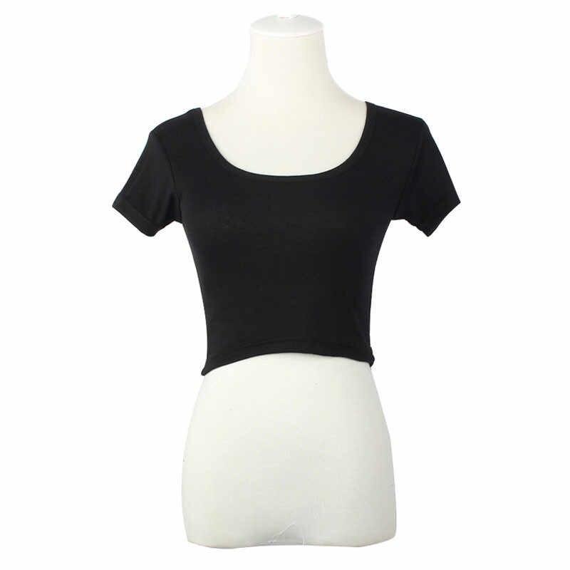 2019 Популярные топы с короткими рукавами, сексуальная Женская Базовая футболка, укороченные топы, модные облегающие брендовые топы на бретелях, корсет, Клубная одежда, Blusa # OR