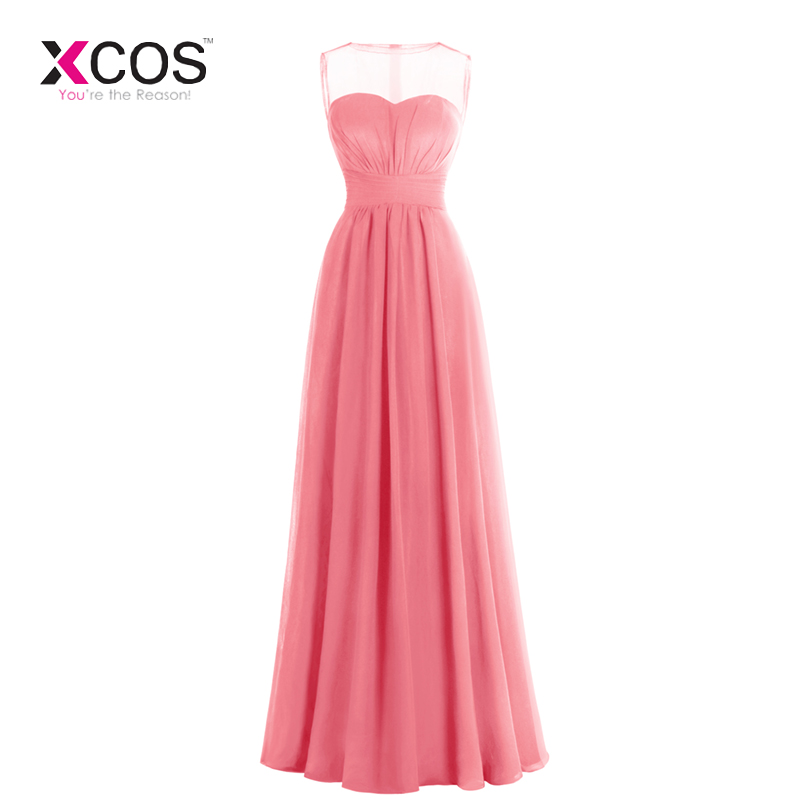Elegant Coral   Bridesmaid     Dresses   Long 2019 Cheap Sheer Neck Pleats Floor Length Formal Wedding Party Guest Gowns Cheap