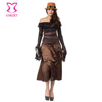 Brown Steel Boned Underbust Corset Dress Gothic Clothing Victorian Steampunk Costume Sexy Corsets And Bustiers Burlesque Dresses
