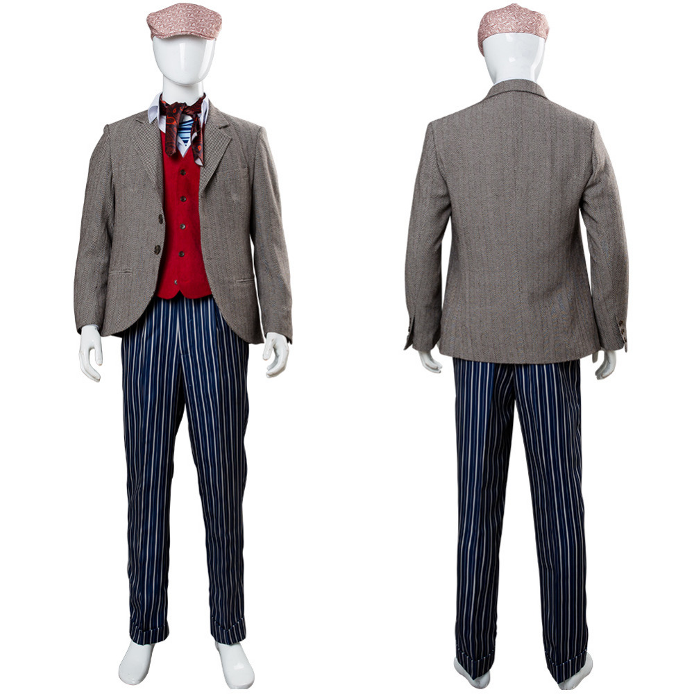 2018 Mary Poppins Returns Costume Jack Cosplay Lin-Manuel Miranda Outfit Hat Suit Unifirm Men Halloween Carnival Costume Custom