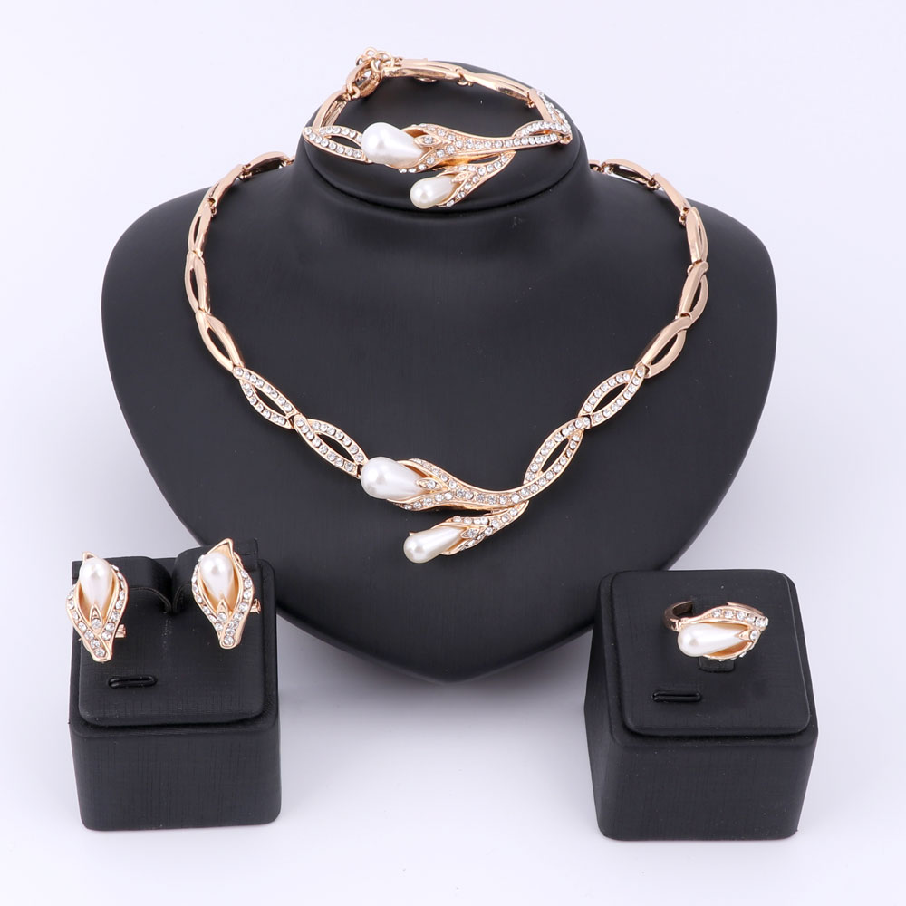 font b Pearl b font Beads Crystal Jewelry Sets For Women Fine Accessories Wedding Bridal