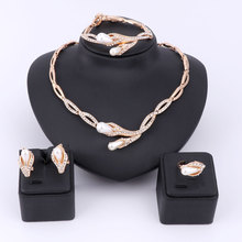 Pearl Beads Crystal Jewelry Sets For Women Fine Accessories Wedding Bridal Statement Necklace Bracelet Earrings Ring Jewelry Set