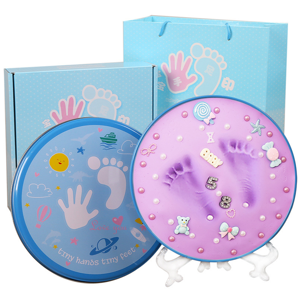 2018 Drop Shipping Baby Inkpad Soft Modeling Baby Print Souvenirs Clay Chic Mother Baby Fingerprint Keepsakes Nice Packing