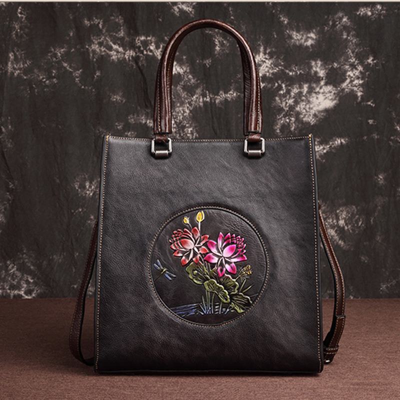 High Quality Tote Bags Women Genuine Leather Handbag Leisure Lotus Pattern Design Cowhide Shoulder Messenger Female Shopping BagHigh Quality Tote Bags Women Genuine Leather Handbag Leisure Lotus Pattern Design Cowhide Shoulder Messenger Female Shopping Bag