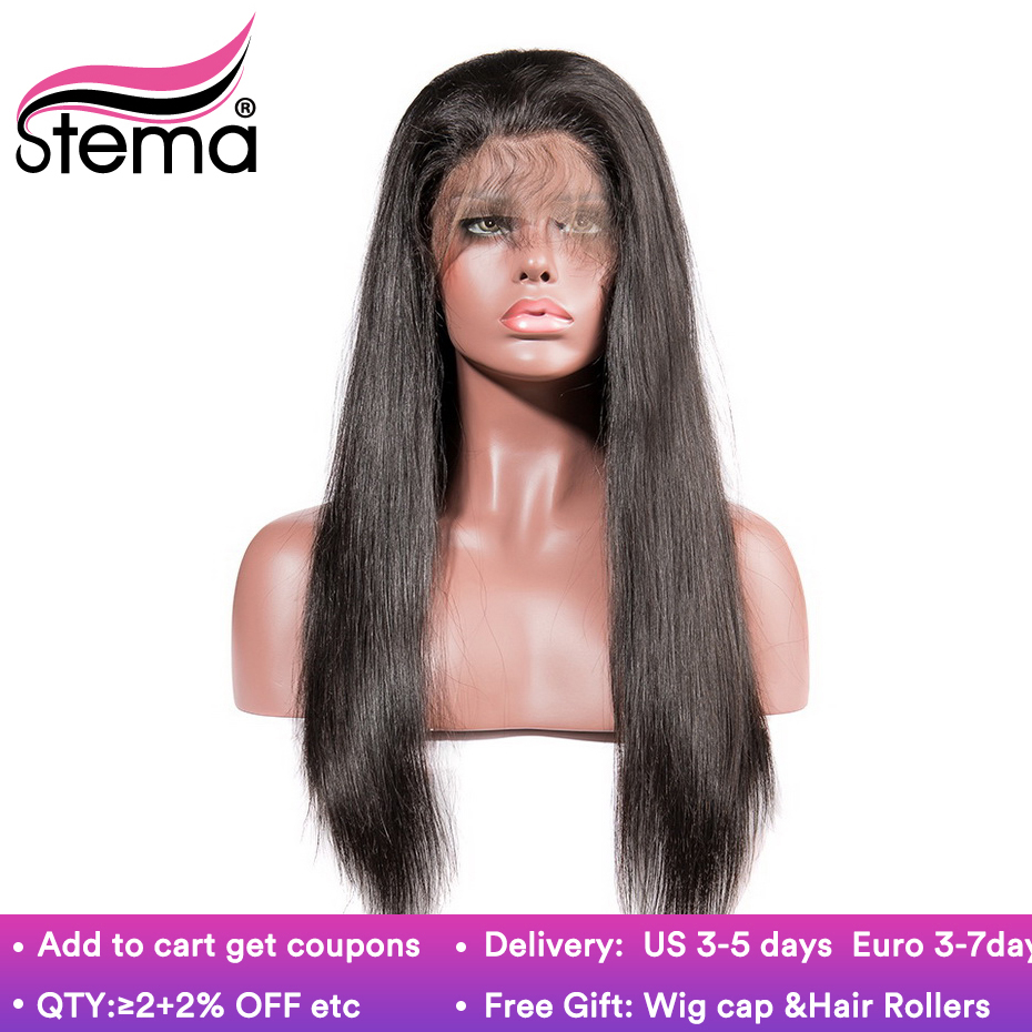 Stema 10 22 Inch Straight 360 Lace Frontal Wig Pre Plucked With Baby Hair Brazilian Human