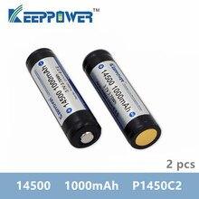 2 قطعة KeepPower 14500 1000mAh 3.7 فولت 3.70Wh المحمية بطارية ليثيوم قابلة للشحن بطاريات ليثيوم أيون P1450C2 لمصباح يدوي vape