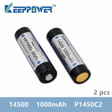2 개 KeepPower 14500 1000mAh 3.7V 3.70Wh 보호 된 충전식 리튬 배터리 리튬 이온 배터리 P1450C2 손전등 vape