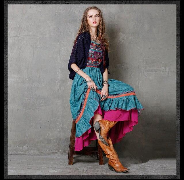 Boho Dresses for Women 2017 High Quality New Retro Cotton Linen Dresses Square Collar Sleeveless Pleated Maxi Dresses Vestidos