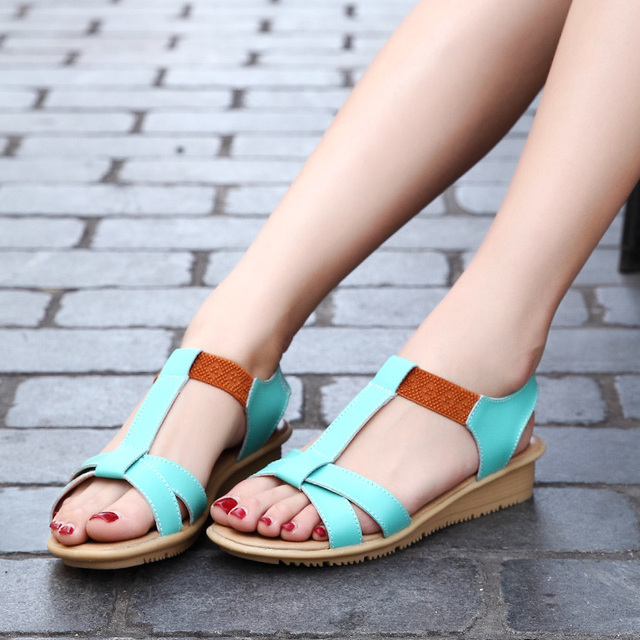 f499bf7dfa439e Summer New Comfortable Flat Bottom Spelling Color Student Pregnant Non-slip Shoes  Leisure Time Woman Sandals