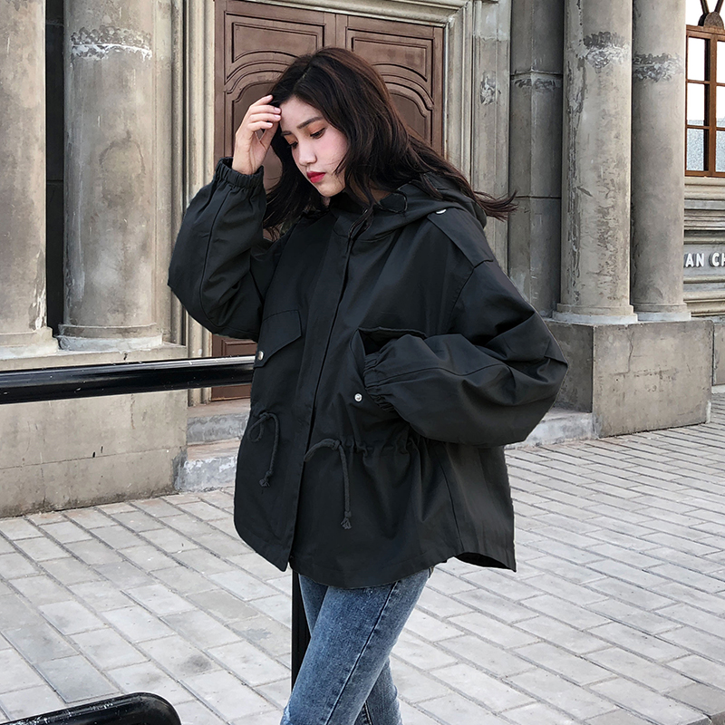 FTLZZ New Loose Trench Coat Spring Autumn Women's Hooded Black Green Windbreaker Outerwear Female Casual Trench Coat 3