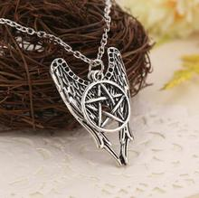 Gorgeous Angel Wings and Pentagram Charm Pendant Necklace Supernatural Jewelry Fashion Woman Gift