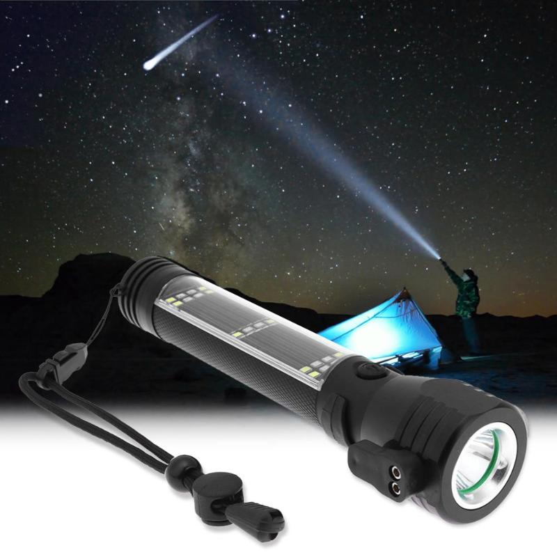 Multifunction USB Rechargeable LED Solar Flashlight Magnet Emergency Torch Portable Lighting with Safety Hammer Compass Cutter