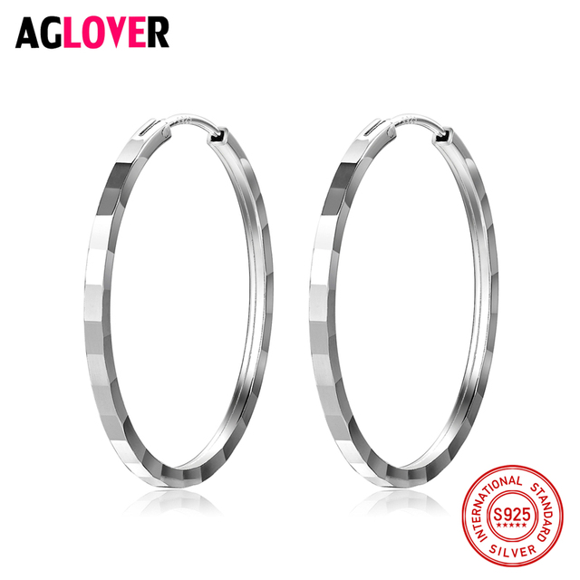 32mm 100 Genuine Real Pure Solid 925 Sterling Silver Hoop Earrings For Women Fine Jewelry