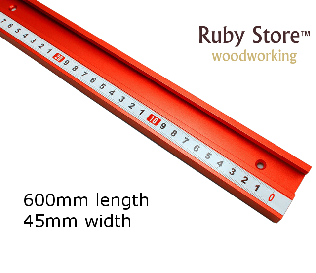 600mm Standard Aluminium T-track 45mm Width with Self Adhesive Metric Scale