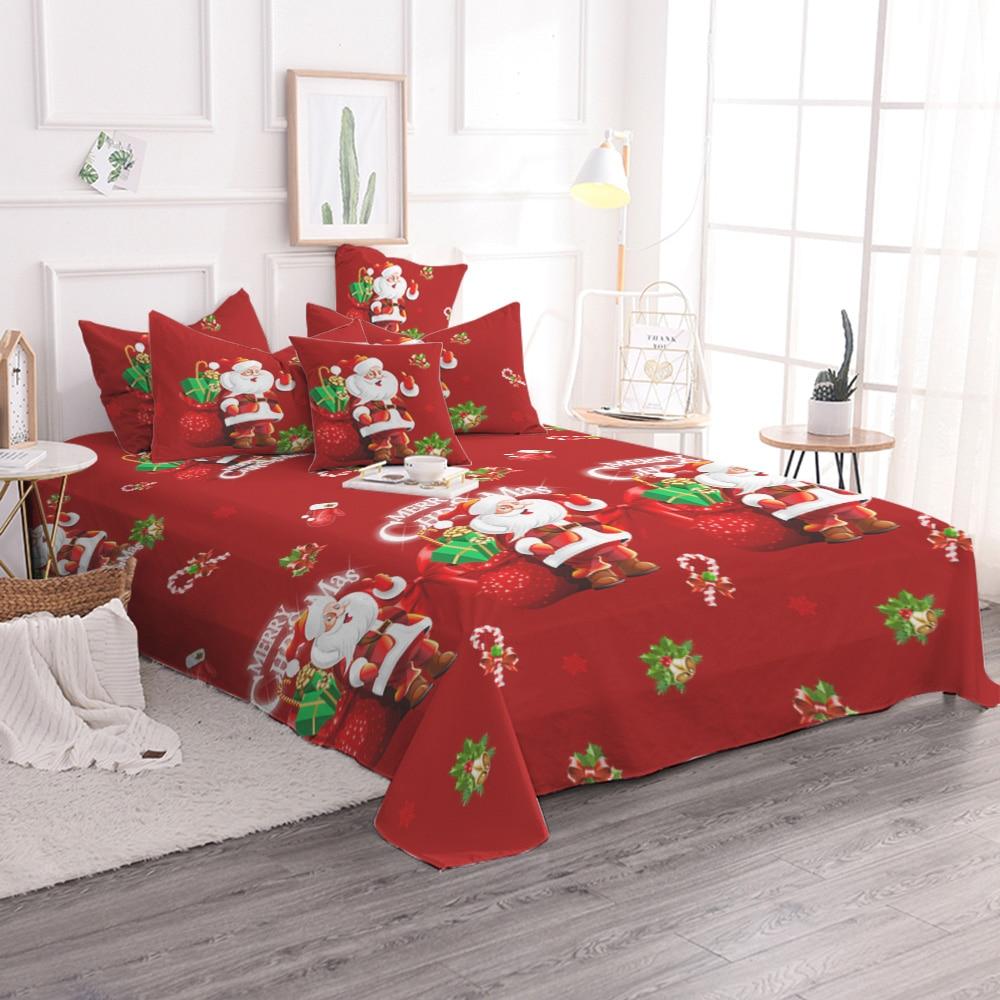 christmas bedding set single queen size duvet cover santa claus bed cover set microfiber pillowcases queen size bedclothes e - Christmas Bedding Sets