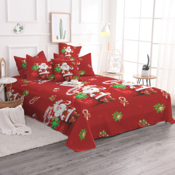 Christmas Bedding Set Single Queen Size Duvet Cover Santa Claus Bed Cover Set Microfiber Pillowcases Queen Size Bedclothes E
