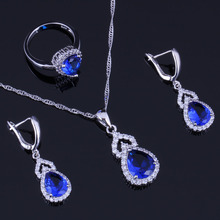 Lovely Pear Blue Cubic Zirconia White CZ 925 Sterling Silver Jewelry Sets For Women Earrings Pendant Chain Ring V0293