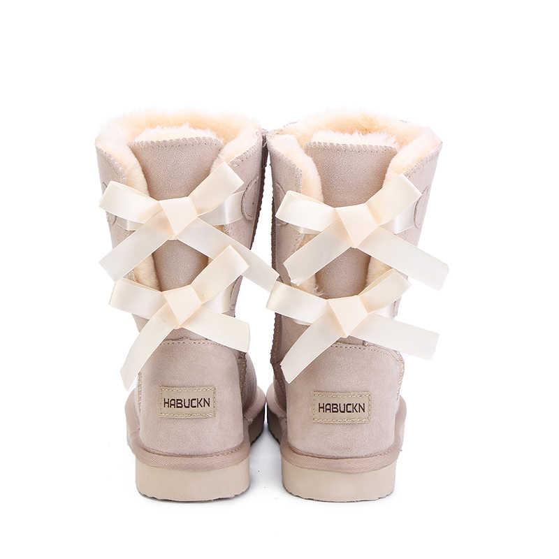 Habuckn 2018 Berkualitas Tinggi Merek Wanita Sepatu Bot Salju Musim Dingin Kulit Asli Sepatu Salju Wanita Pasang Kaos Tali untuk Alas Kaki Zapatos