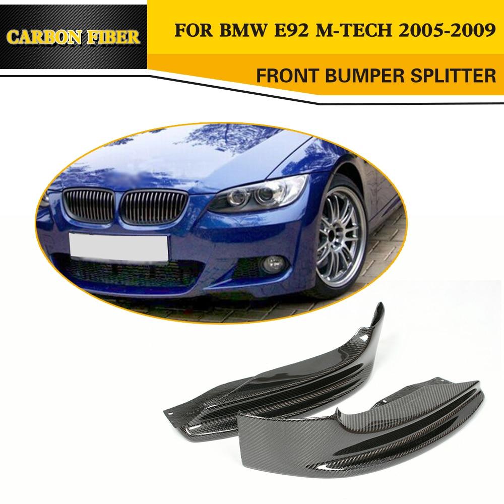 Carbon Fiber Front Splitter Aprons for BMW 3 Series E92 M Sport Bumper Only 05 09 sport bumpers front splitter splitter front - title=