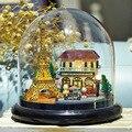 B018A Romantic Paris DIY doll house miniatura mini glass ball model building Kits wooden Miniature Dollhouse Toy Gift