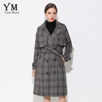 YuooMuoo New Brand Design Long Autumn Woolen Coat Casual Plaid Double Button Winter Jacket Women Elegant
