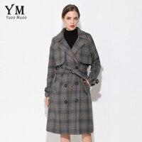 YuooMuoo New Brand Design Long Autumn Woolen Coat Casual Plaid Double Button Winter Jacket Women Elegant