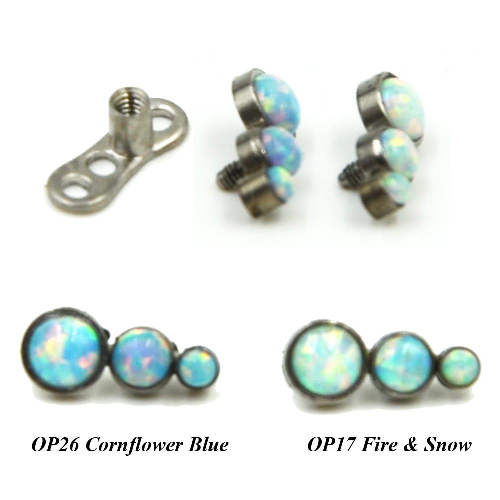 g23 titanium triple bead opal opal stone top head