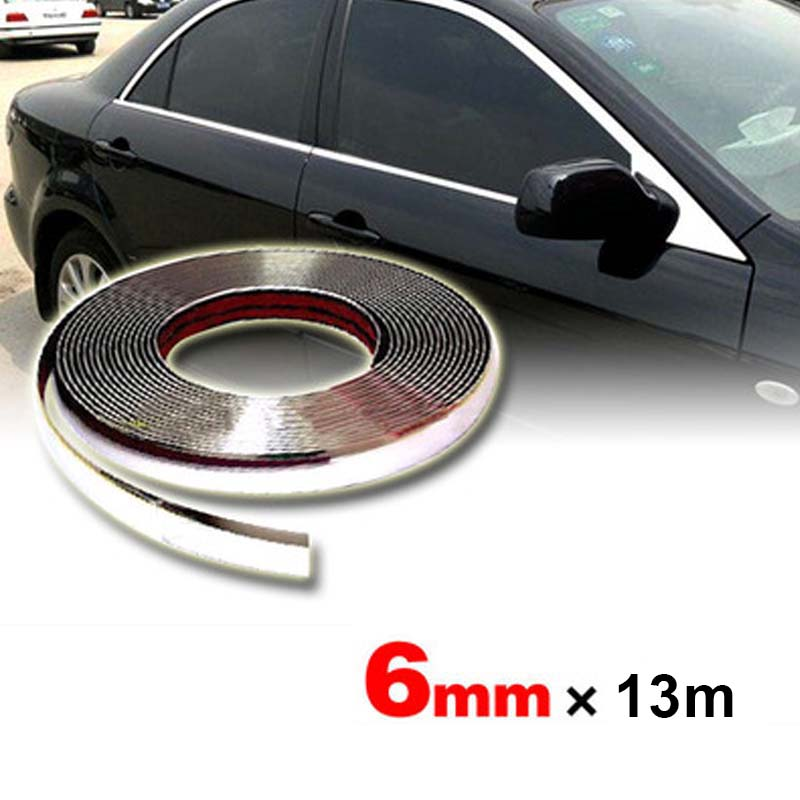 6mm Car Chrome Body Strip Bumper Auto Silver DIY Decoration Protective Moulding Styling Trim Auto Protector Sticker 13Meters