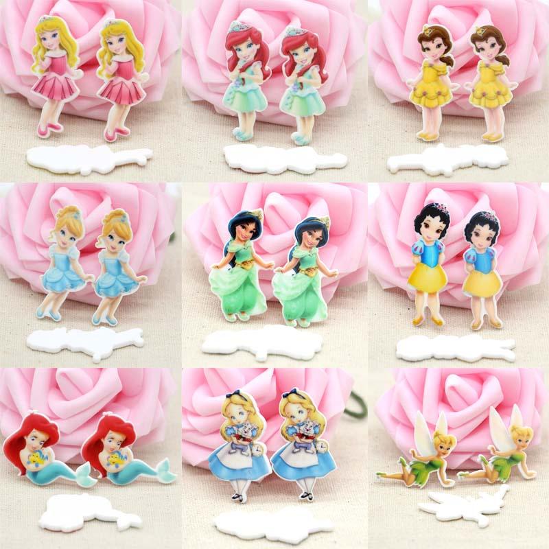 45pcs/Lot Mixed Princess Planar Resins Flatback Cartoon Girls Cabochons DIY Hairbow Center Phone Decoration Scrapbooking Crafts