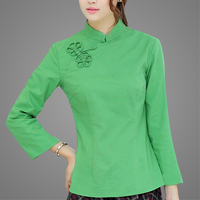 Multi Color Optional Summer New Chinese Style Ladies Casual ShirtTC810 Fruit Green Ginger Burgundy Dai Blue
