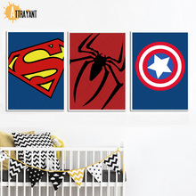 ATTRAYANT SuperHero Spiderman Canvas Schilderij Nordic Poster Wall Art Canvas Prints Wall Pictures Nordic Style Kids Decoration