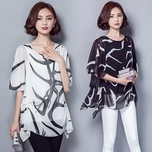 Korean Type Summer Loose Flare Short Sleeve O-neck Printed Chiffon Shirts Blouses
