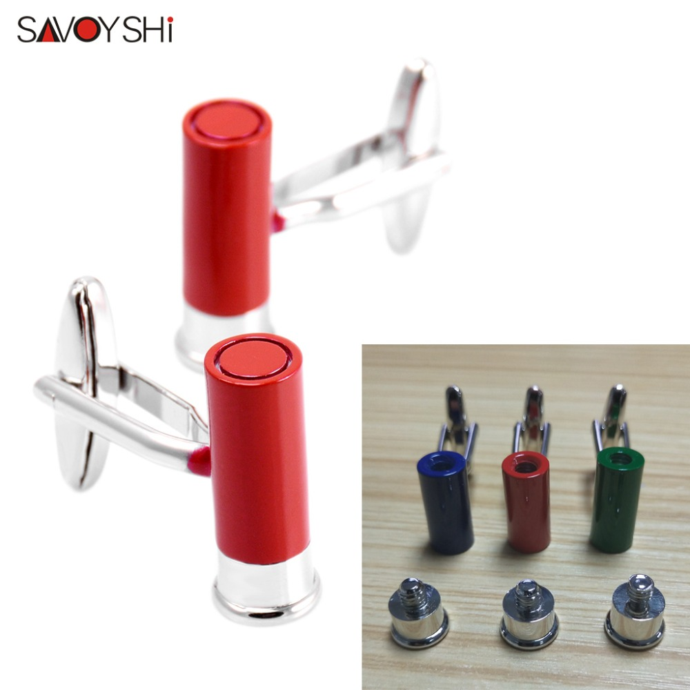 SAVOYSHI Novelty Bullet Cufflinks for Mens Shirt Cuff bottons High Quality Red/Green/Blue Cuff links Brand Fashion Jewelry Gift