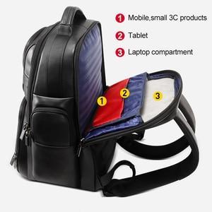 Image 4 - BOPAI جلد طبيعي على ظهره متعددة الوظائف USB تهمة مكافحة سرقة حقيبة لابتوب 15.6 بوصة رجل محمول على ظهره حقيبة السفر