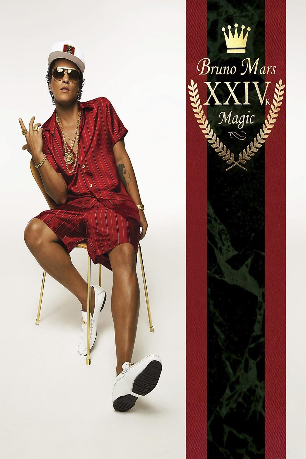 H007 Hot Bruno Mars Magic XXIV Pop Rap Music Star Art Silk Fabric Poster 36 x 24
