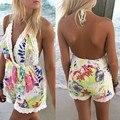 Летом Стиль Женщины Холтер Кружева V-образным Вырезом Спинки Цветочный Печати Комбинезон Playsuit