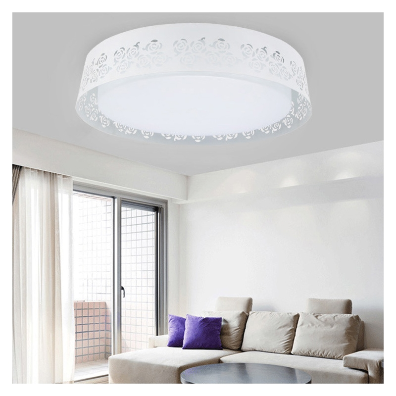 High Quality With CE Modern Round Dimmable Led Ceiling LampLight Acrylic Hollowed Flush Mount lamparas de techo For Living Room noosion modern led ceiling lamp for bedroom room black and white color with crystal plafon techo iluminacion lustre de plafond